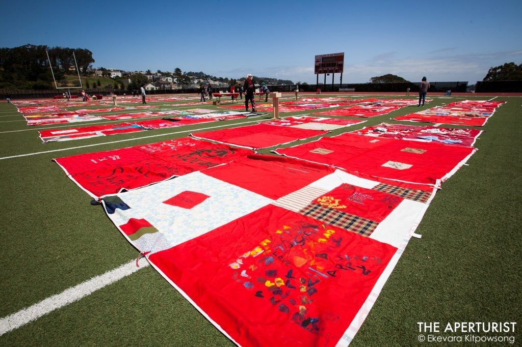 art, Artist, CCSF, City College of San Francisco, Current SF, CurrentSF, Ekevara Kitpowsong, Field, Football, Football field, Football Player, Force, FORCE: Upsetting Rape Culture, Goerge M. Rush, Hannah Brancato, Monument Quilt, Ocean Campus, Project Survive, Quilt, Rams, Rams Football, Rams Stadium, rape culture, red, Stadium, Students, survivors, The Aperturist, the guardsman, The Monument Quilt, Upsetting Rape Culture, Volunteers, Women's Studies