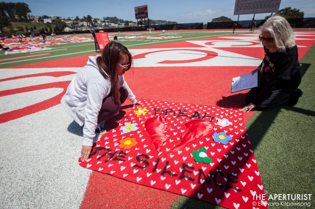 art, Artist, CCSF, City College of San Francisco, Current SF, CurrentSF, Ekevara Kitpowsong, Field, Football, Football field, Football Player, Force, FORCE: Upsetting Rape Culture, Goerge M. Rush, Hannah Brancato, Monument Quilt, Ocean Campus, Project Survive, Quilt, Rams, Rams Football, Rams Stadium, rape culture, red, Stadium, Students, survivors, The Aperturist, the guardsman, The Monument Quilt, Upsetting Rape Culture, Volunteers, Women's Studies, Not Alone, You are not alone