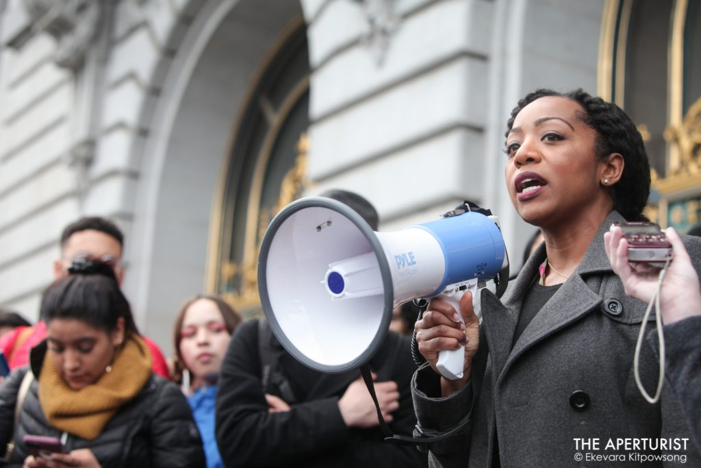 Supervisor Malia Cohen speaks to the huge crowd of students gather in front of San Francisco City Hall on Wednesday, March 14, 2018. Hundreds of San Francisco Bay Area students walked out of classroom as part of a nationwide school walkout to protest against gun violence on the one-month anniversary of the high school shooting that a gunman killed 17 people at Marjory Stoneman Douglas High School in Parkland, Florida. (Photo by Ekevara Kitpowsong)