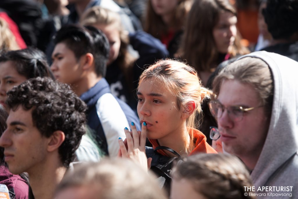 Students gather in front of San Francisco's City Hall as part of a nationwide school walkout to protest against gun violence on the one-month anniversary of the high school shooting that a gunman killed 17 people at Majory Stoneman Douglas High school in Parkland, Florida, Wednesday, March 14, 2018 in San Francisco, Calif. (Photo by Ekevara Kitpowsong)