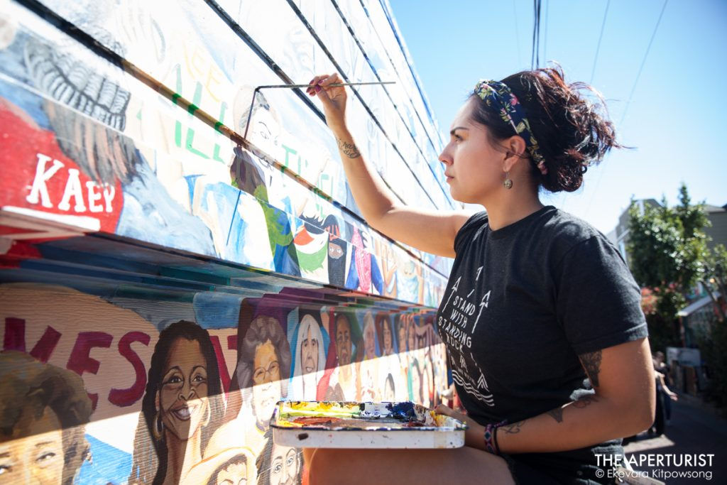 artist, Balmy Alley, Feef, Fernanda Parker Vizcaino, Lucía Gonzalez-Ippolito, Mission District, Mural, Women of the Resistance, wtrmural, muralist, women artists, women activists, painter, Adriana Adams, Erika Gomez-Henao, Sonia Molina, Michelle Rios, and Yasmine, Chole Gonzalez-Coyle, Carla Wojczuk, SFAI, San Francisco Art Institute, Precita Eyes Muralists, Precita Eyes, Denise Sullivan, Ekevara Kitpowsong, The Aperturist, San Francisco, Current SF, CurrentSF, CurrentSF Magazine, Current SF Magazine