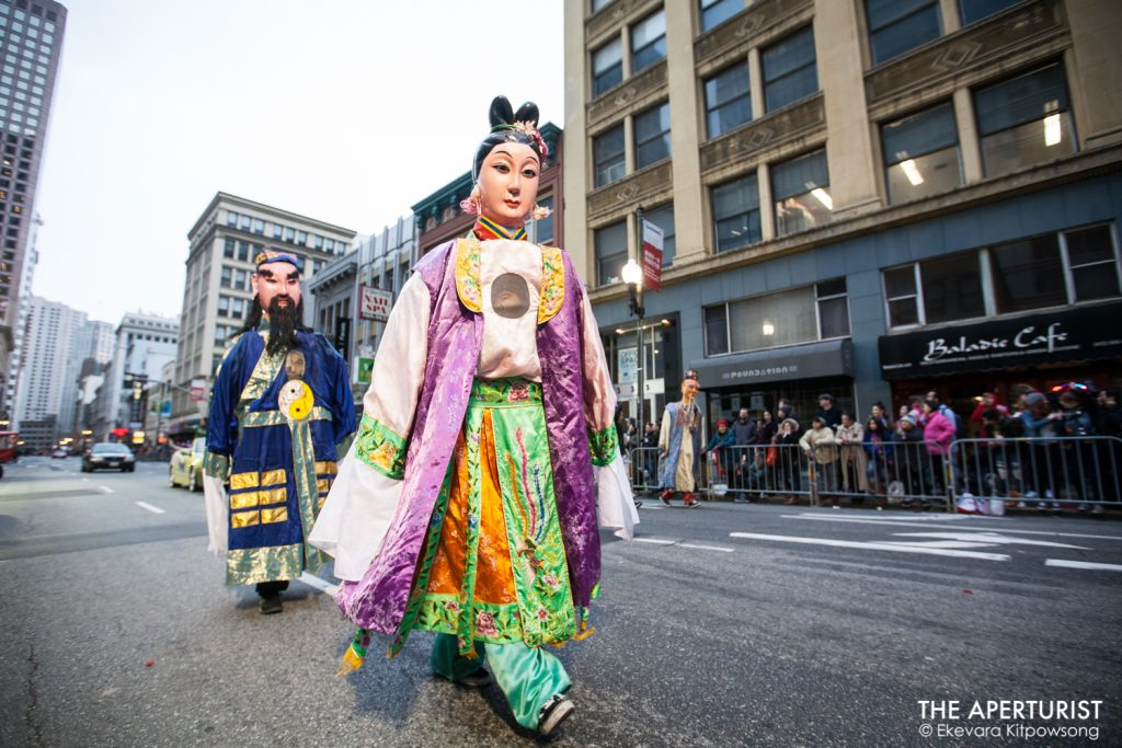 Parade participants in costumes take part in San Francisco's Chinese New Year Parade on Saturday, Feb. 23, 2019. (Photo by Ekevara Kitpowsong/Current SF)