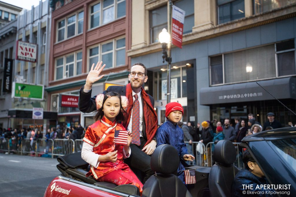 California State Senator Scott Wiener waves to the crowd during the San Francisco's Chinese New Year Parade on Saturday, Feb. 23, 2019. (Photo by Ekevara Kitpowsong/Current SF)