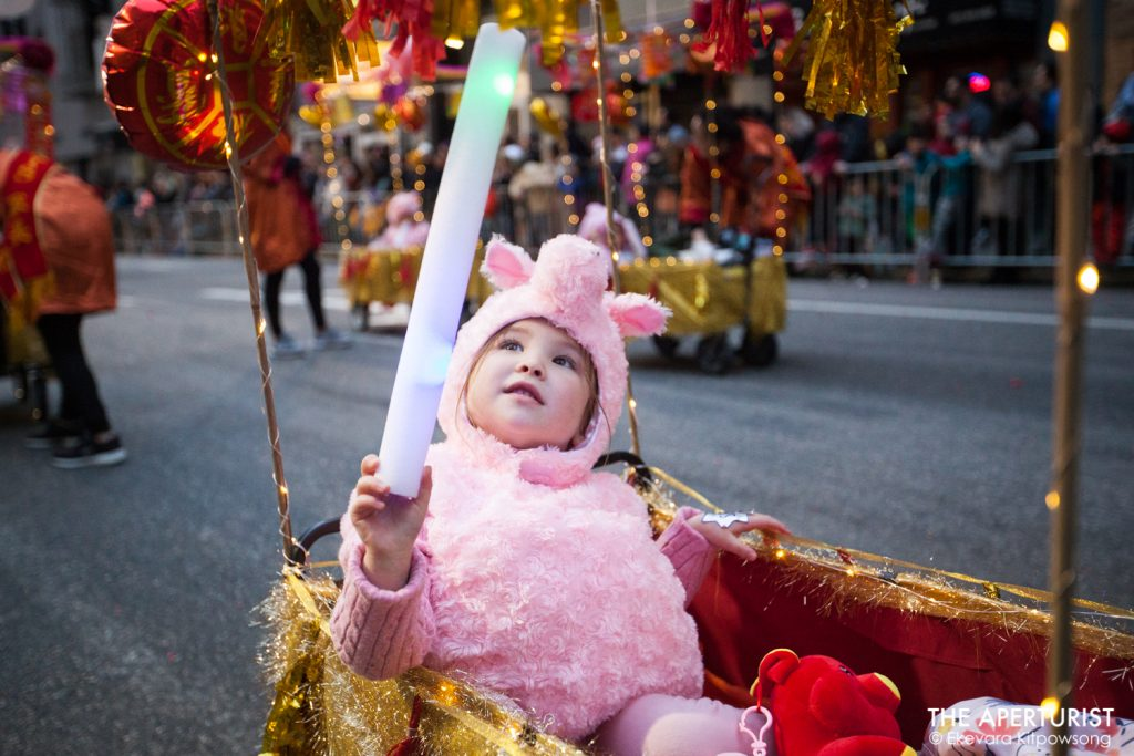 A parade participant in costume takes part in San Francisco's Chinese New Year Parade on Saturday, Feb. 23, 2019. (Photo by Ekevara Kitpowsong/Current SF)
