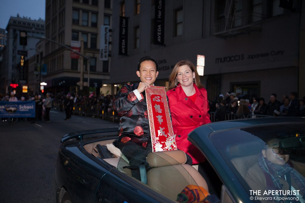 Former Supervisor David Chiu smiles to the crowd during the San Francisco's Chinese New Year Parade on Saturday, Feb. 23, 2019. (Photo by Ekevara Kitpowsong/Current SF)