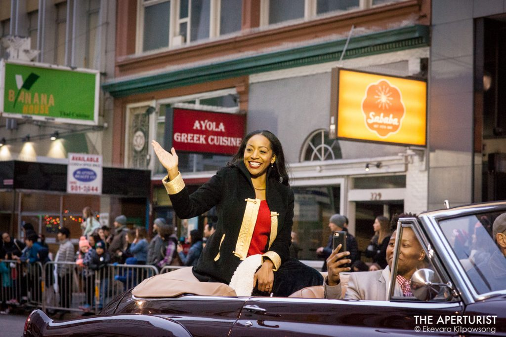 Former Supervisor Malia Cohen waves to the crowd during the San Francisco's Chinese New Year Parade on Saturday, Feb. 23, 2019. (Photo by Ekevara Kitpowsong/Current SF)