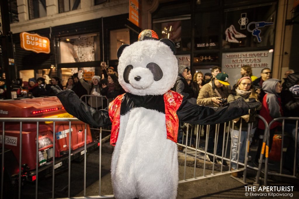 A parade participant in panda mascot costume takes part in San Francisco's Chinese New Year Parade on Saturday, Feb. 23, 2019. (Photo by Ekevara Kitpowsong/Current SF)