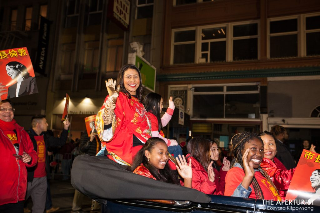 Mayor London Breed waves to the crowd during the San Francisco's Chinese New Year Parade on Saturday, Feb. 23, 2019. (Photo by Ekevara Kitpowsong/Current SF)
