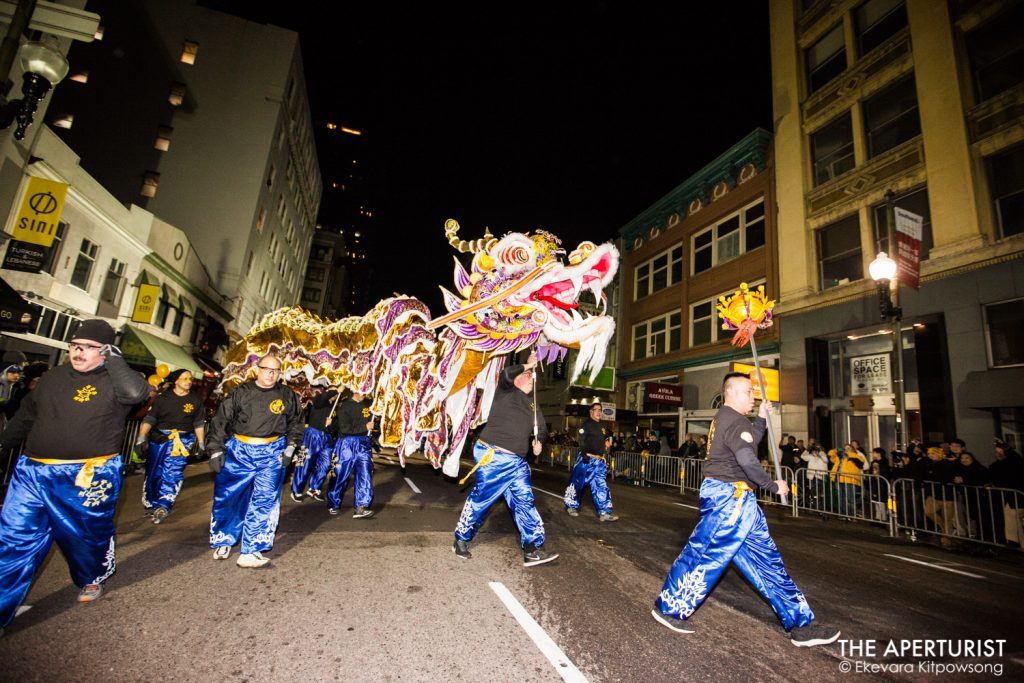 Parade participants perform a dragon dance in San Francisco's Chinese New Year Parade on Saturday, Feb. 23, 2019. (Photo by Ekevara Kitpowsong/Current SF)