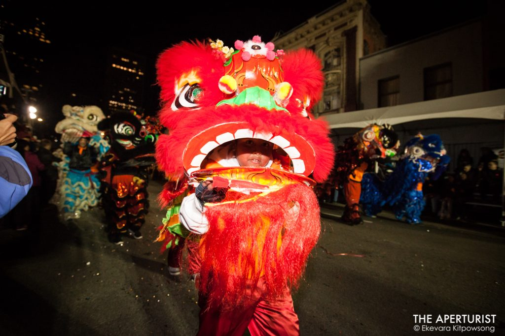 Lion dancers perform in San Francisco's Chinese New Year Parade on Saturday, Feb. 23, 2019. (Photo by Ekevara Kitpowsong/Current SF)