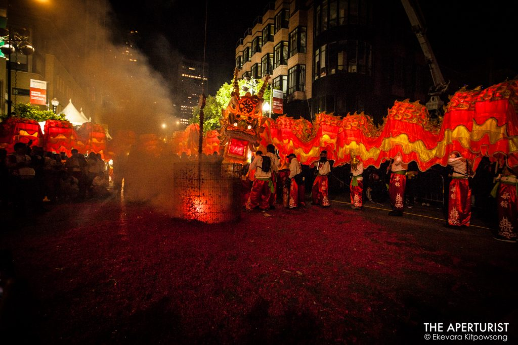"A 288-foot-long Golden Dragon ""Gum Lung"" performs in a circle around the exploding fireworks during the San Francisco's Chinese New Year Parade on Saturday, Feb. 23, 2019. (Photo by Ekevara Kitpowsong/Current SF)"