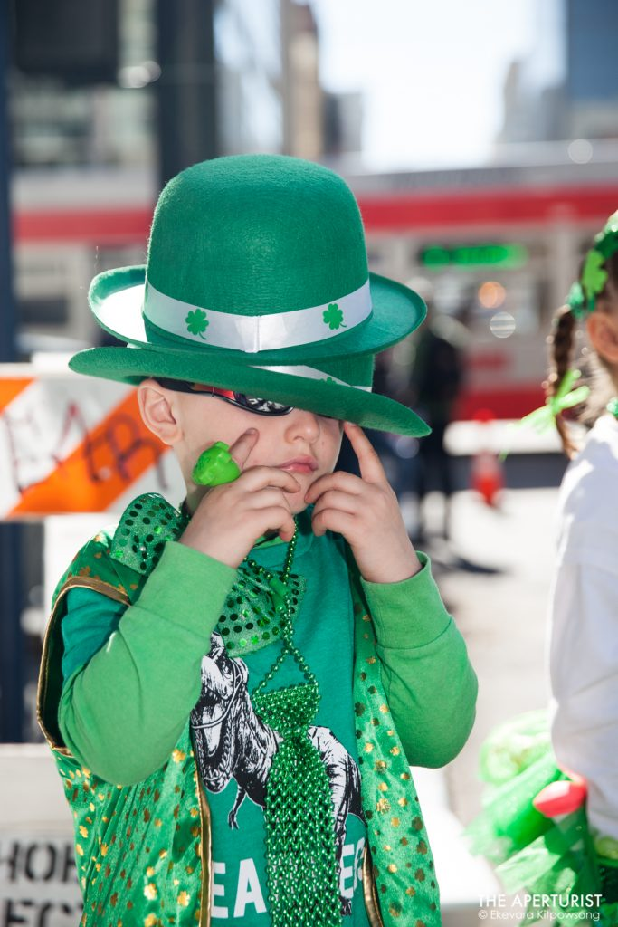 A participant waits for the start of the 168th annual San Francisco St. Patrick's Day Parade on 2nd Street on Saturday, March 16, 2019, in San Francisco, Calif. (Photo by Ekevara Kitpowsong/Current SF)