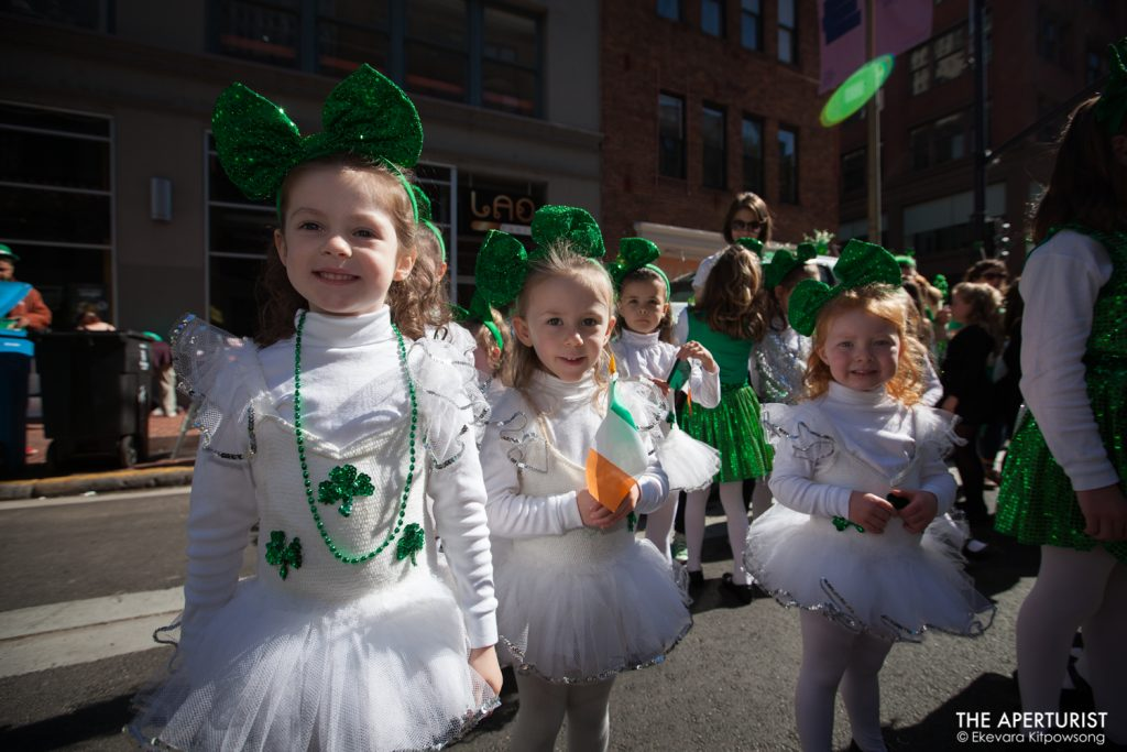 Participants in costume wait for the start of the 168th annual San Francisco St. Patrick's Day Parade on 2nd Street on Saturday, March 16, 2019. (Photo by Ekevara Kitpowsong/Current SF)