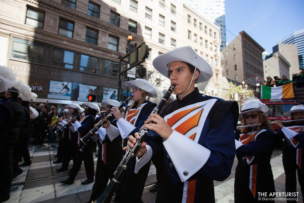 Participants perform on Market Street in San Francisco during the 168th annual San Francisco St. Patrick's Day Parade on Saturday, March 16, 2019. (Photo by Ekevara Kitpowsong/Current SF)
