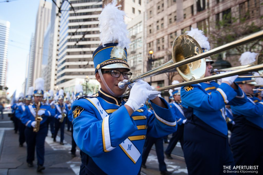 Participants play musical instruments during the 168th annual San Francisco St. Patrick's Day Parade on Saturday, March 16, 2019, in San Francisco, Calif. (Photo by Ekevara Kitpowsong/Current SF)