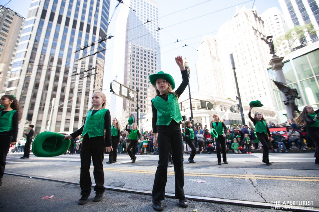 Participants perform Irish dance during the 168th annual San Francisco St. Patrick's Day Parade on Saturday, March 16, 2019. (Photo by Ekevara Kitpowsong/Current SF)
