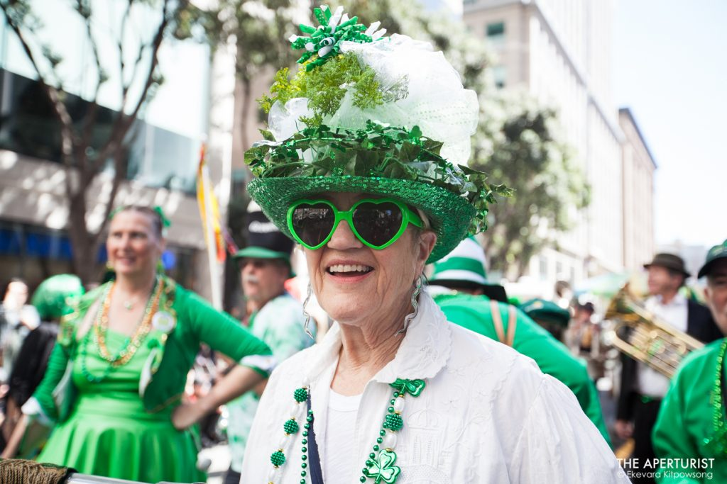 A participant wearing a decorated hat joins the 168th annual San Francisco St. Patrick's Day Parade on Saturday, March 16, 2019, in San Francisco, Calif. (Photo by Ekevara Kitpowsong/Current SF)