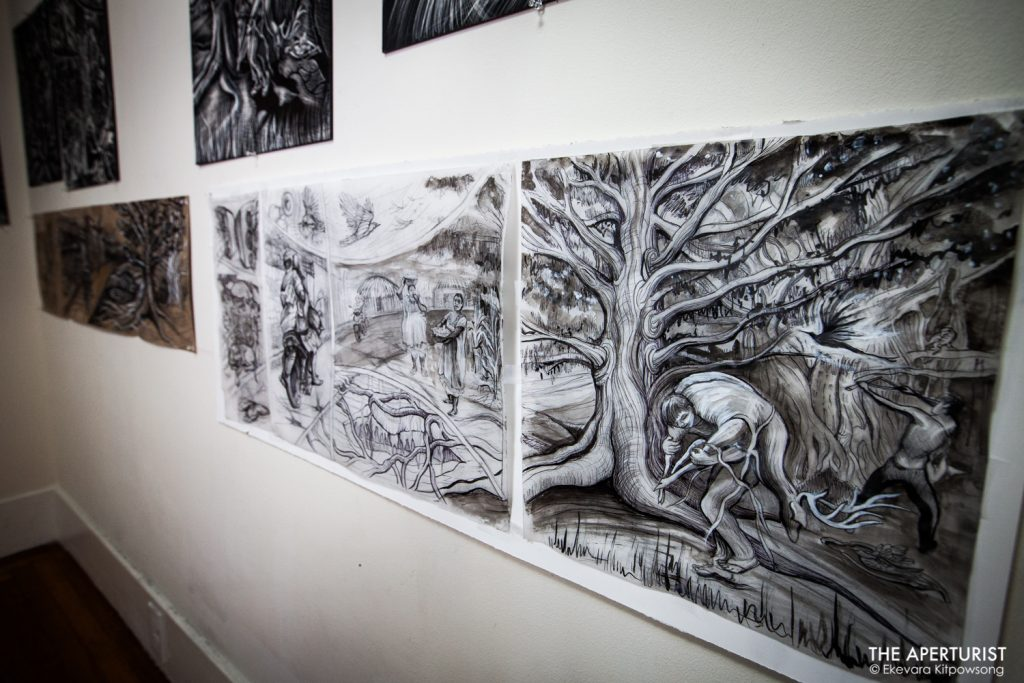 "Collection of work on scratchboards and papers by a muralist Juana Alicia for her upcoming exhibit ""The X'tabay, a Contemporary Vision,"" is displayed on the wall at her Berkeley studio on Monday, April 29, 2019. (Photo by Ekevara Kitpowsong/Current SF)"