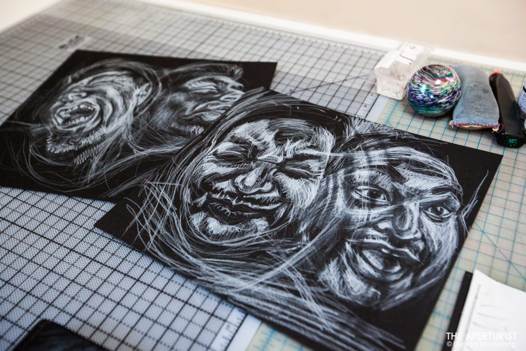 "Collection of work on scratchboards by a muralist Juana Alicia for her upcoming exhibit ""The X'tabay, a Contemporary Vision,"" can be seen on the drawing table at her Berkeley studio on Monday, April 29, 2019. (Photo by Ekevara Kitpowsong/Current SF)"