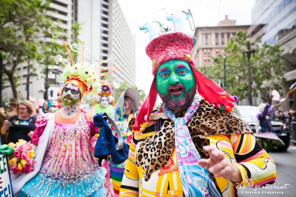Parade participants from Verasphere wear colorful and creative costumes during the San Francisco Pride Parade on Market Street in San Francisco on Sunday, June 30, 2019. (Photo by Ekevara Kitpowsong/Current SF)