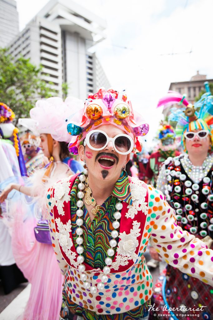 Parade participants from Verasphere in colorful and creative costumes take part in the San Francisco Pride Parade on Market Street in San Francisco on Sunday, June 30, 2019. (Photo by Ekevara Kitpowsong/Current SF)