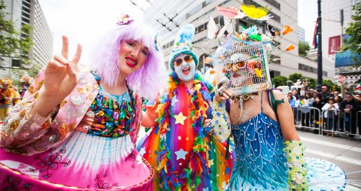 Parade participants from Verasphere in colorful and creative costumes take part in the 49th annual San Francisco Pride Parade on Market Street in San Francisco on Sunday, June 30, 2019. (Photo by Ekevara Kitpowsong/Current SF)