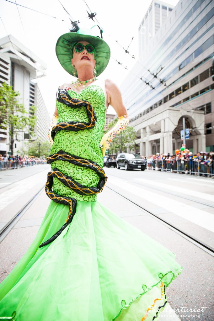 A parade participant from Verasphere wears a colorful and creative costume at the 49th annual San Francisco Pride Parade on Market Street in Downtown San Francisco on Sunday, June 30, 2019. (Photo by Ekevara Kitpowsong/Current SF)
