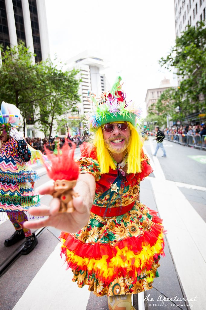 A parade participant from Verasphere wears a colorful and creative costume at the San Francisco Pride Parade on Market Street in San Francisco on Sunday, June 30, 2019. (Photo by Ekevara Kitpowsong/Current SF)