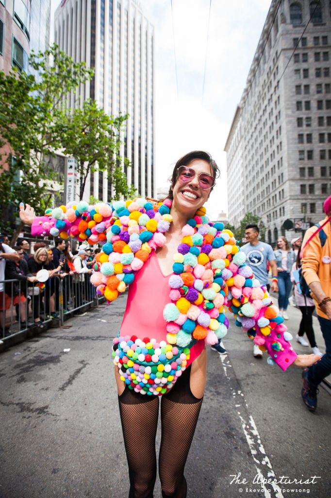 A parade participant wears a colorful and creative costume at the San Francisco Pride Parade on Market Street in San Francisco on Sunday, June 30, 2019. (Photo by Ekevara Kitpowsong/Current SF)