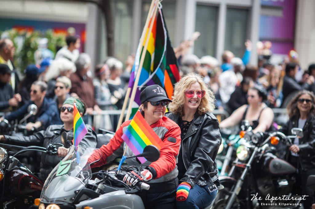 The 2019 San Francisco Pride Parade started off with Dykes on Bikes participants ride on the motorcycles along San Francisco's Market Street on Sunday, June 30, 2019. (Photo by Ekevara Kitpowsong/Current SF)