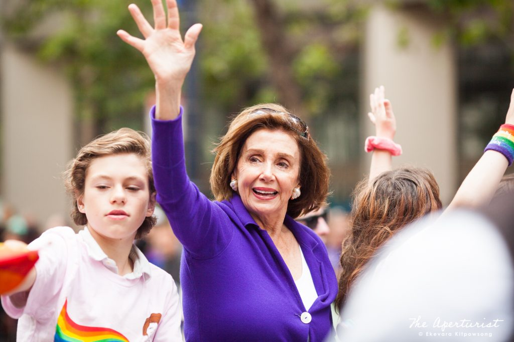 The 52nd Speaker of the House of Representatives Nancy Pelosi waves to the crowd during the San Francisco Pride Parade on Market Street in San Francisco on June 30, 2019. (Photo by Ekevara Kitpowsong/Current SF)