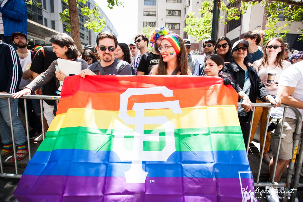 Parade watchers enjoy the San Francisco Pride Parade on Market Street in San Francisco on Sunday, June 30, 2019. (Photo by Ekevara Kitpowsong/Current SF)