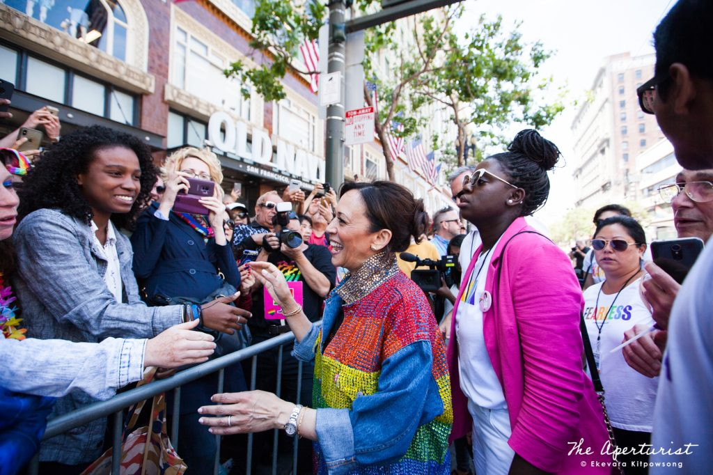 U.S. Senator for California and presidential candidate Kamala Harris shakes hands with the crowd during the San Francisco Pride Parade on Market Street in San Francisco on Sunday, June 30, 2019. (Photo by Ekevara Kitpowsong/Current SF)