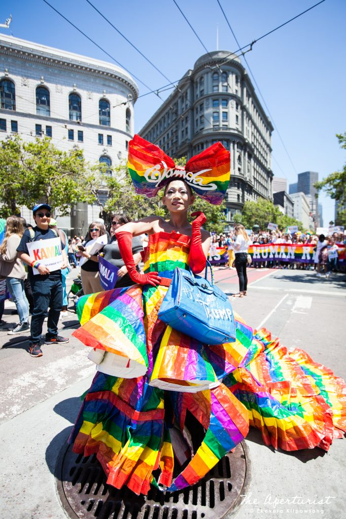 "Khuong Lam a.k.a. ""Glamda The Fabulous"" wears a costume dress at the San Francisco Pride Parade on Market Street in San Francisco on Sunday, June 30, 2019. (Photo by Ekevara Kitpowsong/Current SF)"