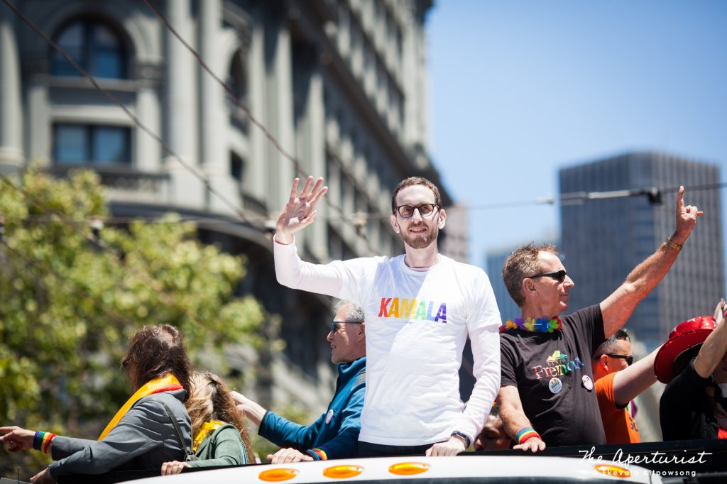 California State Senator Scott Wiener waves to the crowd during the San Francisco Pride Parade on Market Street in San Francisco on Sunday, June 30, 2019. (Photo by Ekevara Kitpowsong/Current SF)