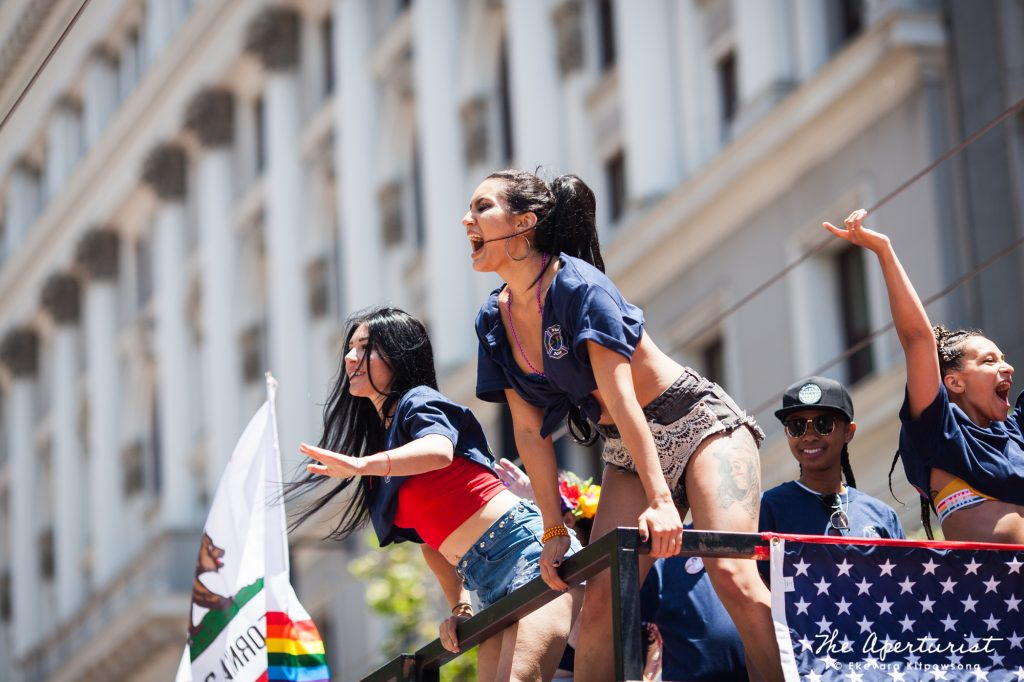 Parade participants take part in the San Francisco Pride Parade on Market Street in San Francisco on Sunday, June 30, 2019. (Photo by Ekevara Kitpowsong/Current SF)