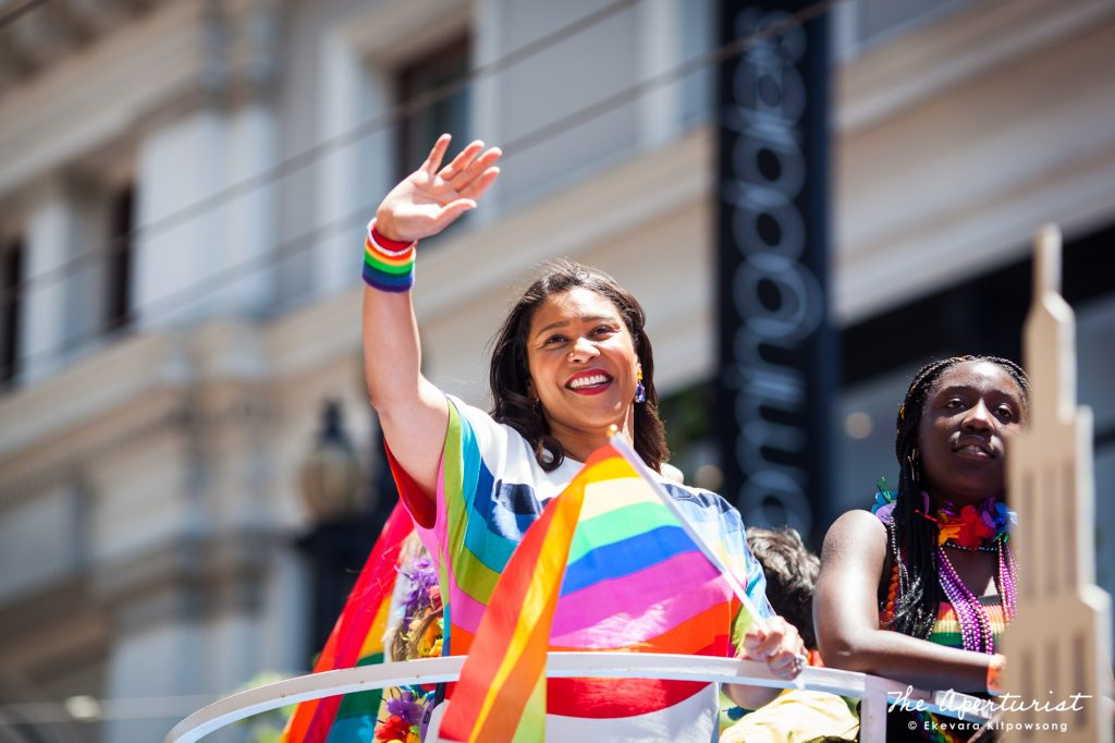 San Francisco Mayor London Breed waves at the crowd during the 49th annual San Francisco Pride Parade on Market Street in San Francisco on Sunday, June 30, 2019. (Photo by Ekevara Kitpowsong/Current SF)