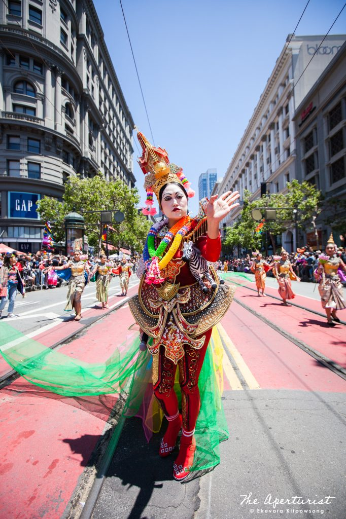 "A parade participant Boom Wanvisa, an emcee of Farmhouse Kitchen Thai Cuisine's float, wear ""The Holy Spirit House"" costume, in the ""Amazing Thailand"" theme which features the most famous Thai food and icons of Thailand, at the 49th annual San Francisco Pride Parade on Market Street in San Francisco on Sunday, June 30, 2019. (Photo by Ekevara Kitpowsong/Current SF)"
