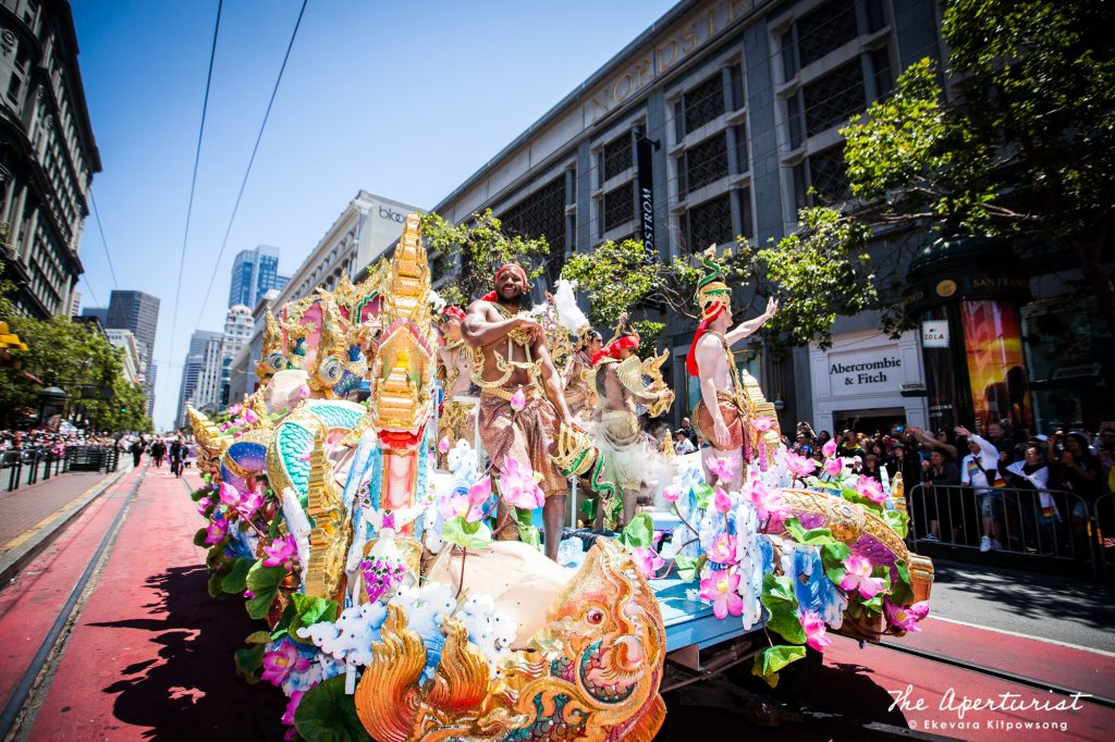 "Farmhouse Kitchen Thai Cuisine's float in ""Amazing Thailand"" theme won the ""Absolutely Fabulous Float"" award at the 49th annual San Francisco Pride Parade in San Francisco on Sunday, June 30, 2019. (Photo by Ekevara Kitpowsong/Current SF)"