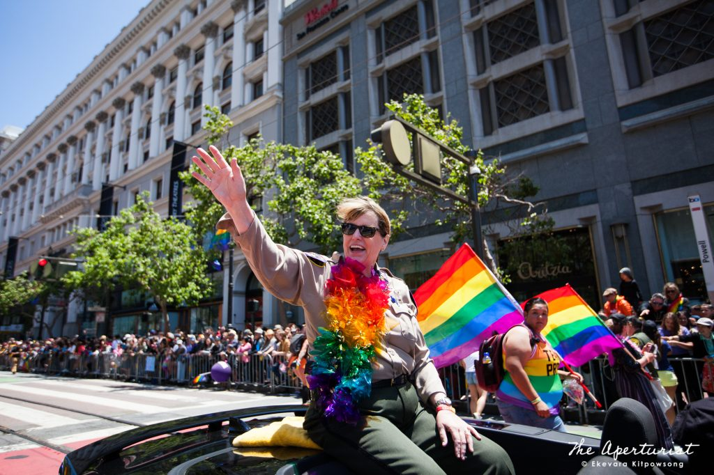 San Francisco Sheriff and the city's first female sheriff Vicki Hennessy waves at the crowd at the 49th annual San Francisco Pride Parade on Market Street in San Francisco on Sunday, June 30, 2019. (Photo by Ekevara Kitpowsong/Current SF)