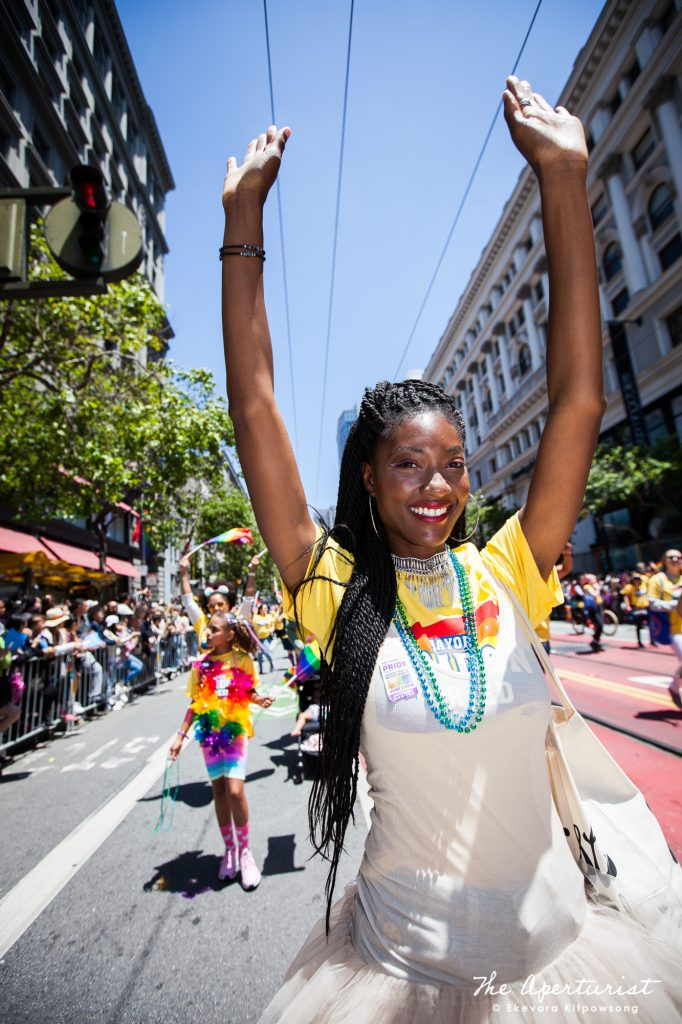A parade participant takes part in the 49th annual San Francisco Pride Parade on Market Street in San Francisco on Sunday, June 30, 2019. (Photo by Ekevara Kitpowsong/Current SF)