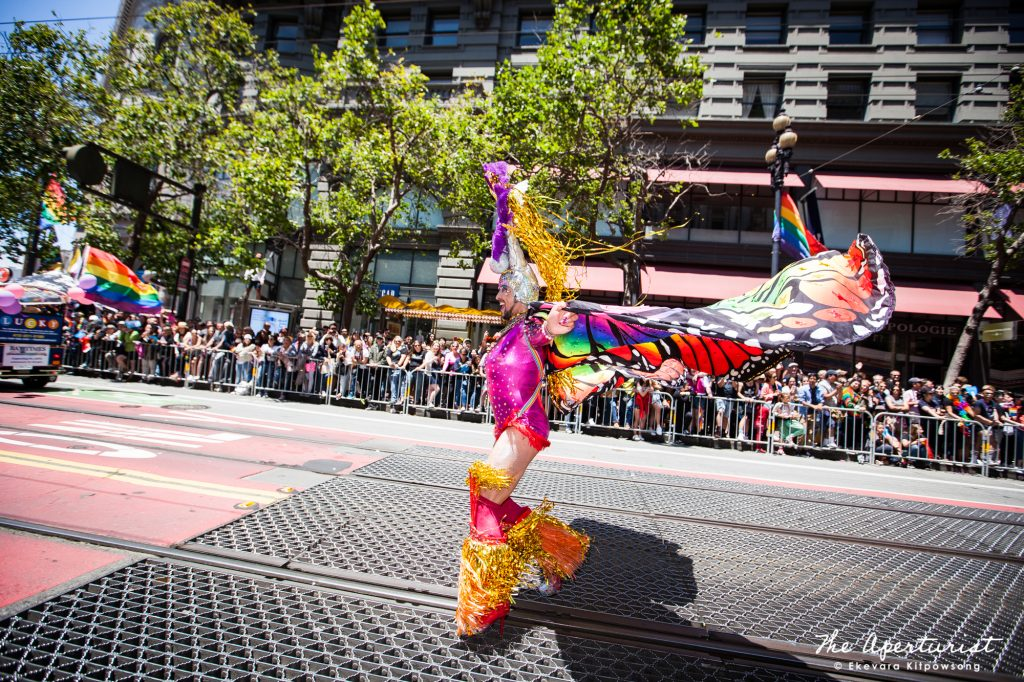 A parade participant wears a colorful costume at the San Francisco Pride Parade on Market Street in San Francisco on Sunday, June 30, 2019. (Photo by Ekevara Kitpowsong/Current SF)