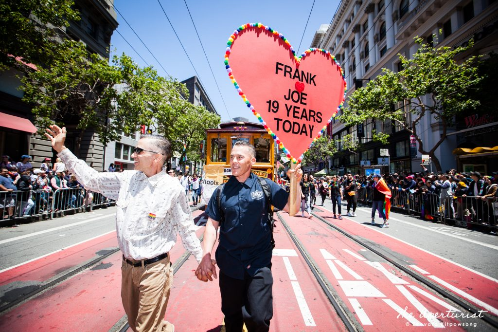 Parade participants take part in the 49th annual San Francisco Pride Parade on Market Street in San Francisco on Sunday, June 30, 2019. (Photo by Ekevara Kitpowsong/Current SF)