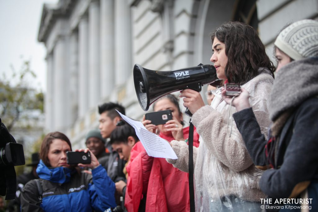 A student speaks to the crowds gathered in front of San Francisco City Hall on Wednesday, March 14, 2018. Hundreds of San Francisco Bay Area students walked out of classroom as part of a nationwide school walkout to protest against gun violence on the one-month anniversary of the high school shooting that a gunman killed 17 people at Marjory Stoneman Douglas High School in Parkland, Florida. (Photo by Ekevara Kitpowsong)