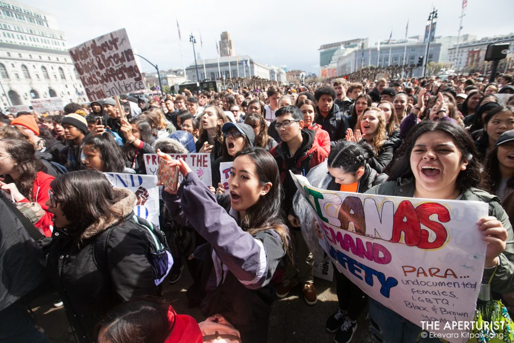 A huge crowd of students gathers in front of San Francisco City Hall on Wednesday, March 14, 2018 as part of a nationwide school walkout to protest against gun violence on the one-month anniversary of the Parkland school shooting in Florida that a gunman killed 17 people. (Photo by Ekevara Kitpowsong)